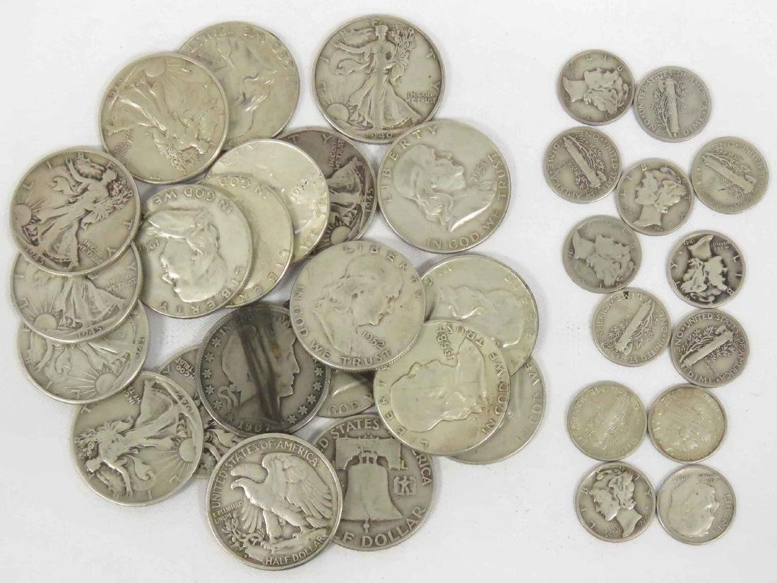 LOT (34) ASSORTED US SILVER COINS INCLUDING 1907 BARBER