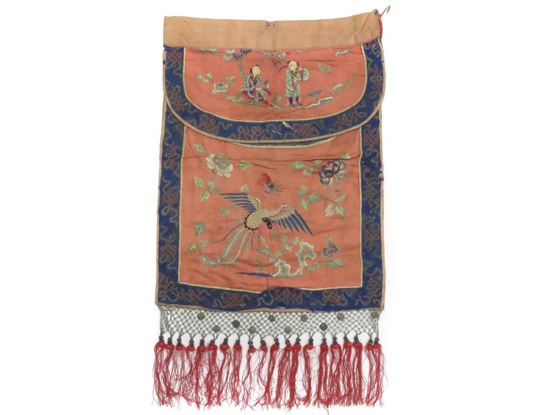 CHINESE SILK EMBROIDERED MANDARIN BAG WITH TASSEL
