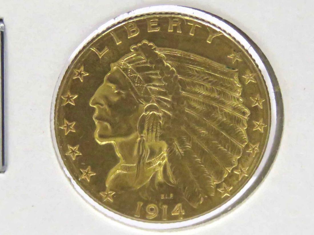 1914D INDIAN HEAD $2.50 GOLD QUARTER EAGLE COIN (AU)