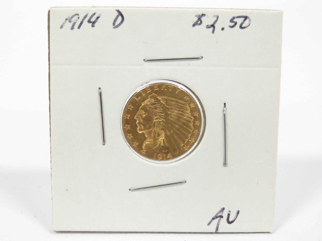 1914D INDIAN HEAD $2.50 GOLD QUARTER EAGLE COIN (AU) - 2
