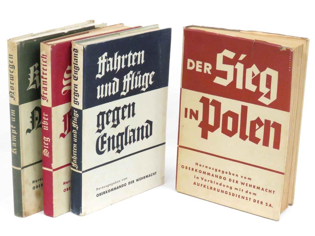 LOT (4) GERMAN WWII MILITARY PROPAGANDA BOOKS, 1939-41