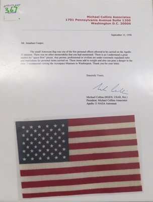 APOLLO II SPACE MISSION AMERICAN FLAG CARRIED BY CREW - 2