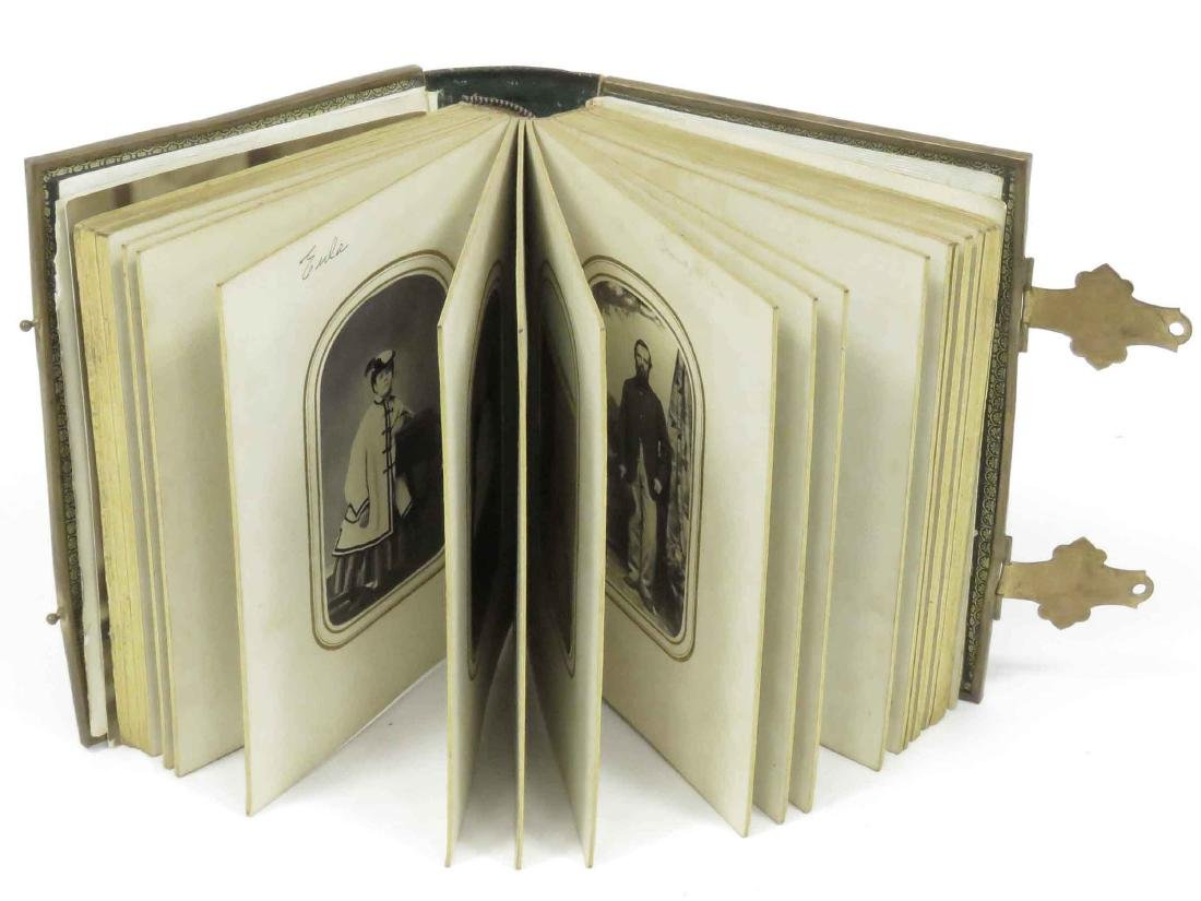 VINTAGE LEATHER CDV PHOTO ALBUM, C.1870