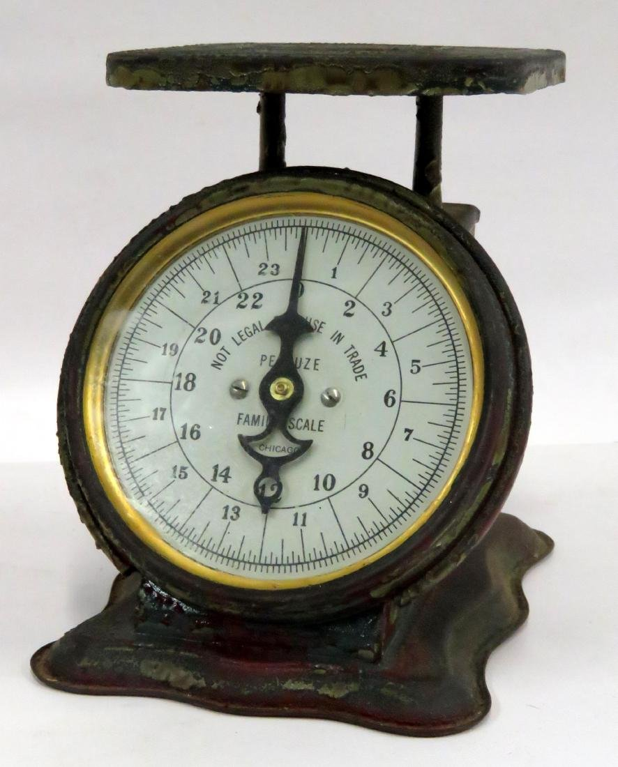 VINTAGE PELOUZE FAMILY WEIGHT SCALE. HEIGHT 8""
