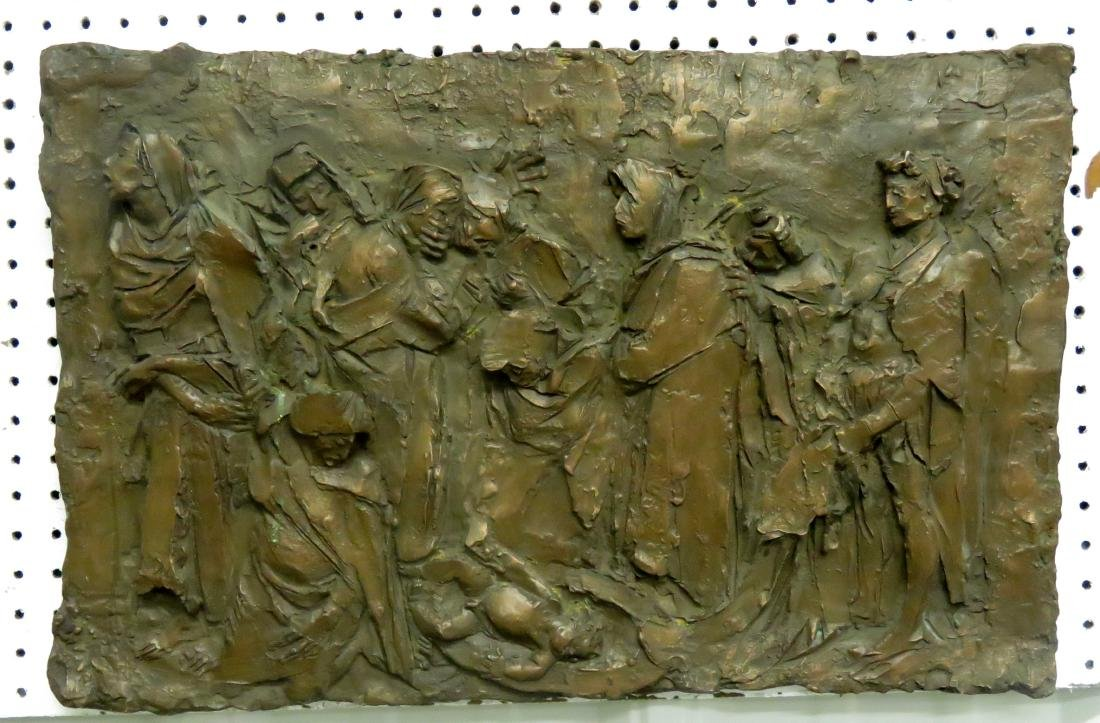 BRONZE PATINATED COMPOSITION RELIEF PANEL. 16 X 25""