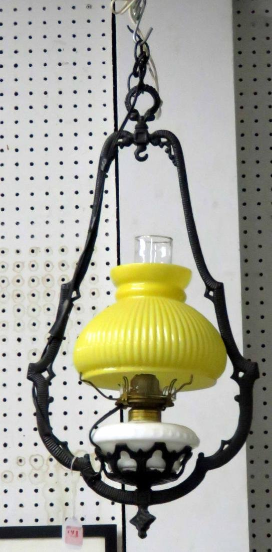 VICTORIAN HANGING OIL LAMP (ELECTRIFIED)