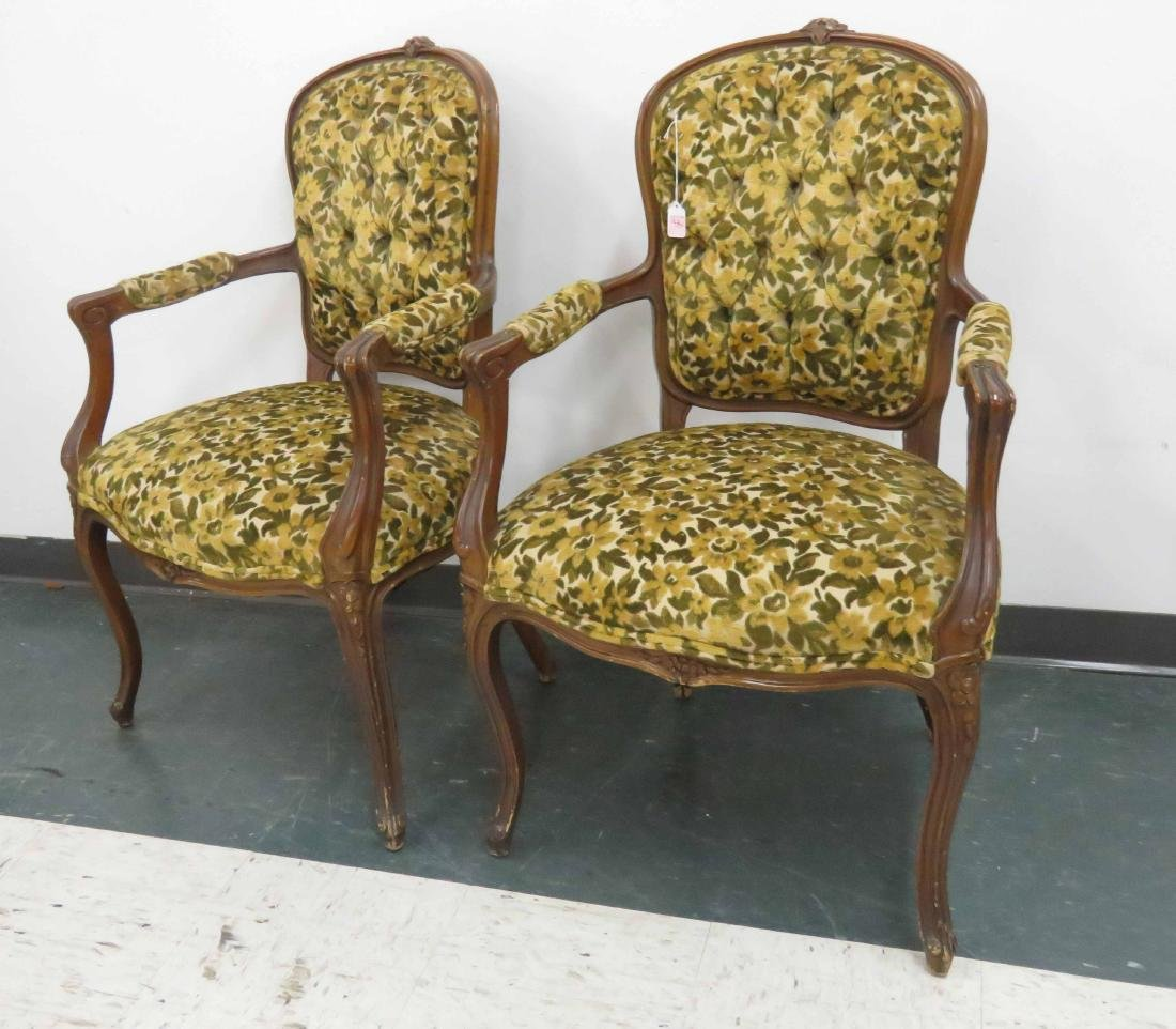 PAIR FRENCH STYLE OPEN ARMCHAIRS