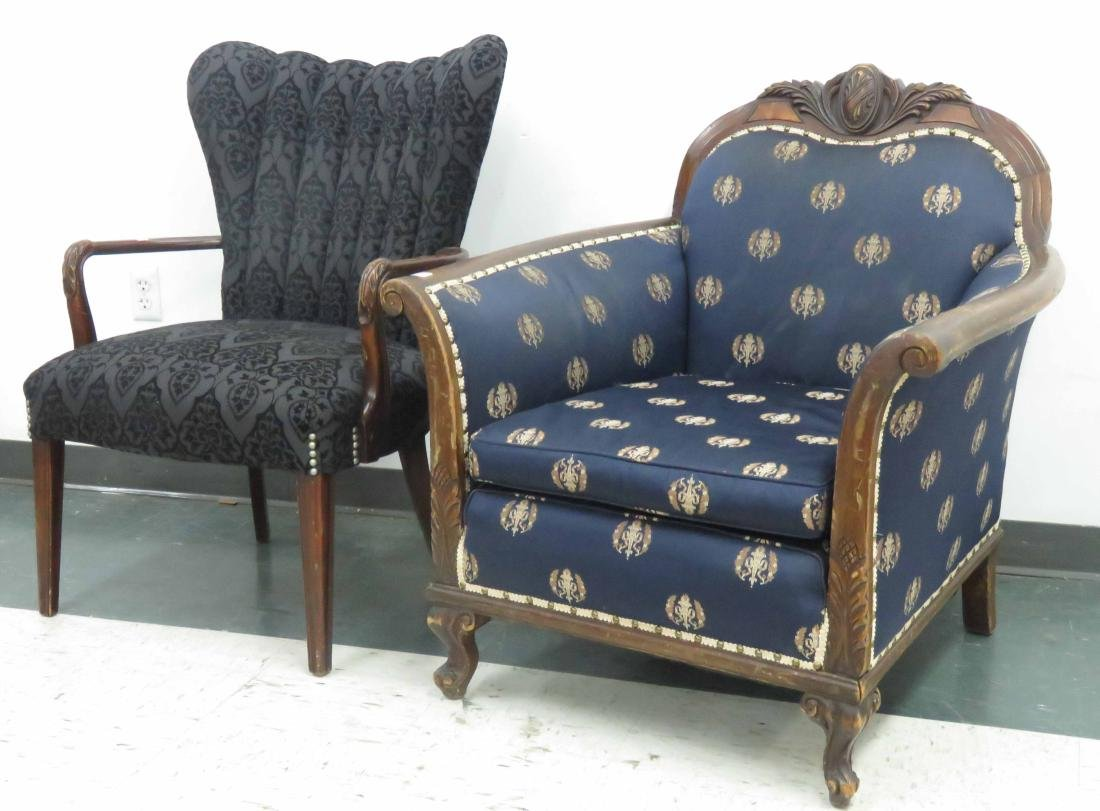 LOT (2) CARVED ARMCHAIRS