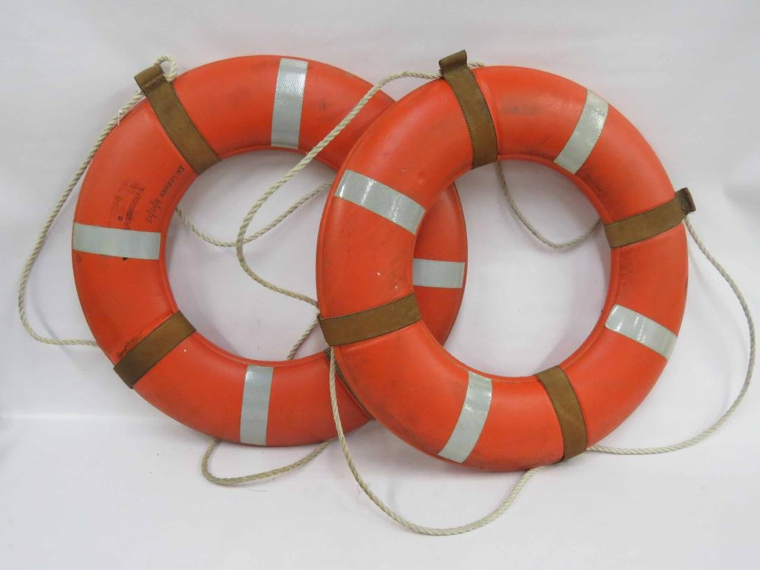 PAIR COAST GUARD APPROVED RING BUOYS. OPENING/DIAMETER