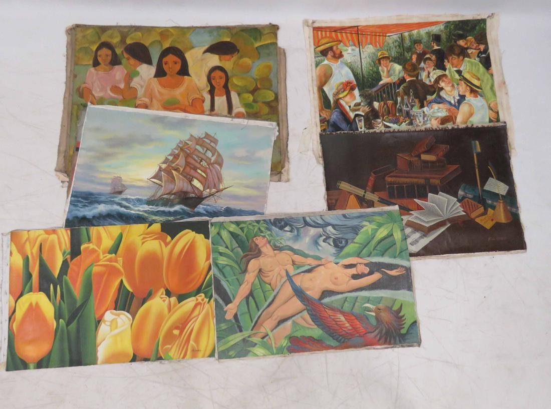 LOT (8) OIL ON CANVAS ASSORTED MODERN MASTER PAINTINGS