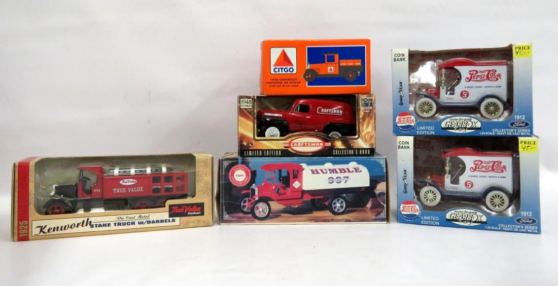 BOX LOT (6) ASSORTED DIE CAST & PLASTIC TRUCK MODELS,