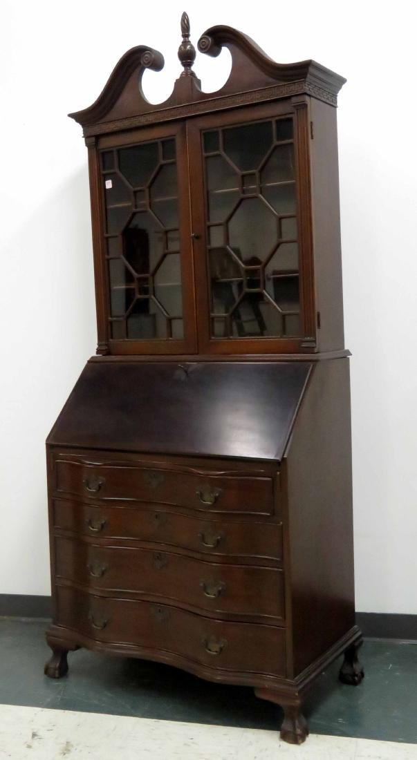 CHIPPENDALE STYLE CARVED MAHOGANY SECRETARY WITH