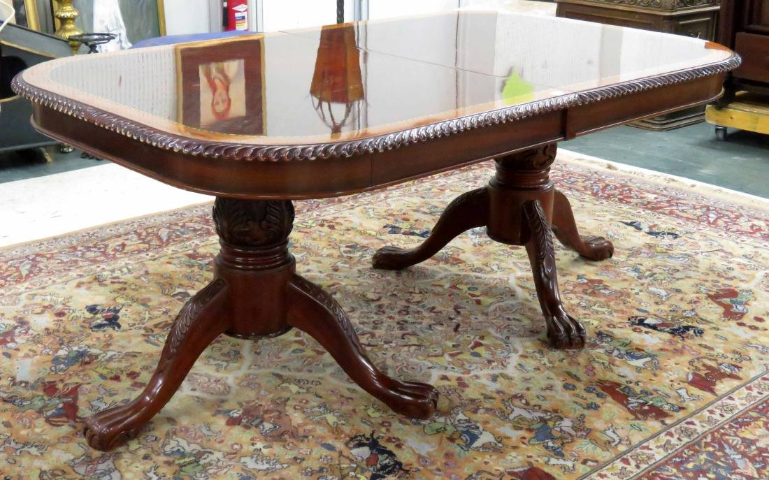 CLASSICAL STYLE CARVED AND INLAID MAHOGANY EXTENSION