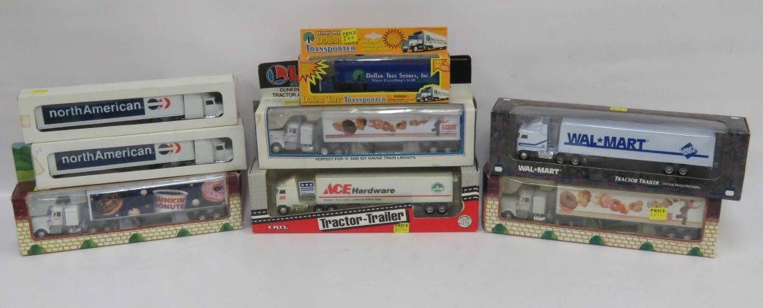 BOX LOT (7) ASSORTED DIE CAST & PLASTIC TRACTOR TRAILER