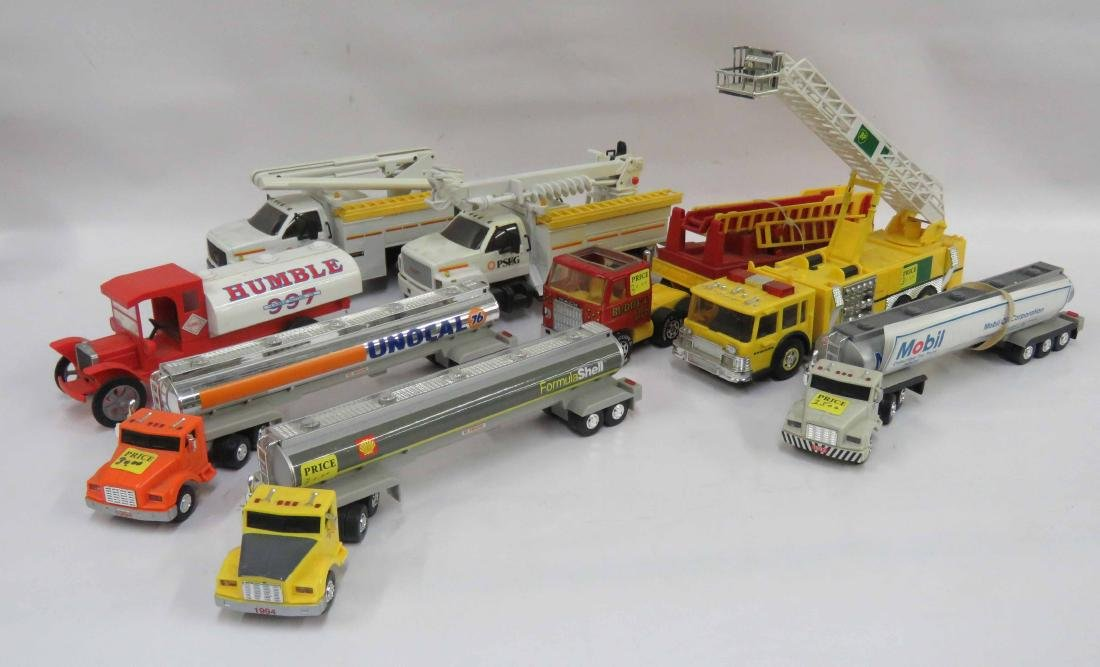 LOT (2) BOX LOTS DIE CAST & PLASTIC TANKERS AND FIRE