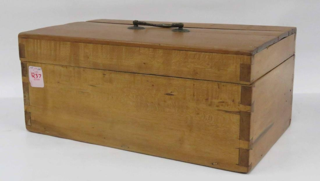 "MAPLE DOCUMENT BOX, 19TH CENTURY. HEIGHT 6""; WIDTH 14"""