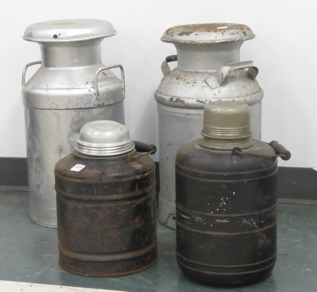 "LOT (4) INCLUDING (2) CROWLEY'S MILK CANS, HEIGHT 20"";"