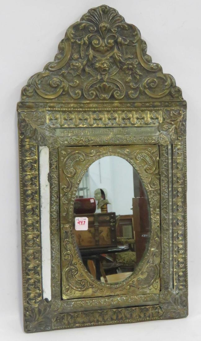 DUTCH REPOUSSE BRASS HANGING MIRRORED CABINET. HEIGHT
