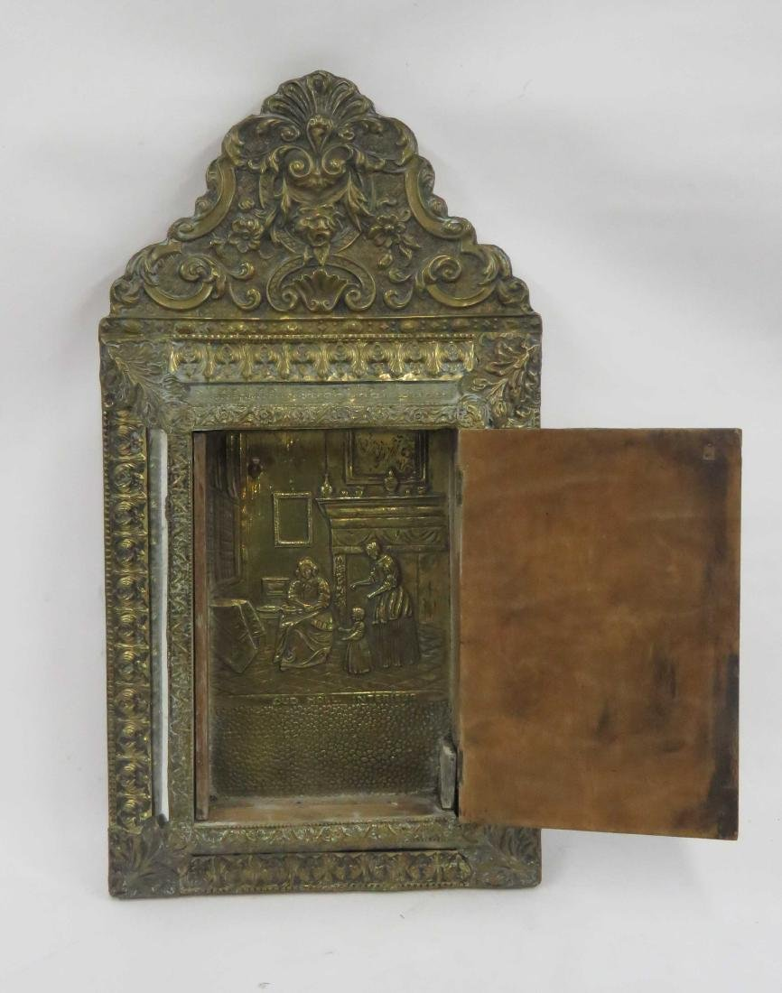 DUTCH REPOUSSE BRASS HANGING MIRRORED CABINET. HEIGHT - 2