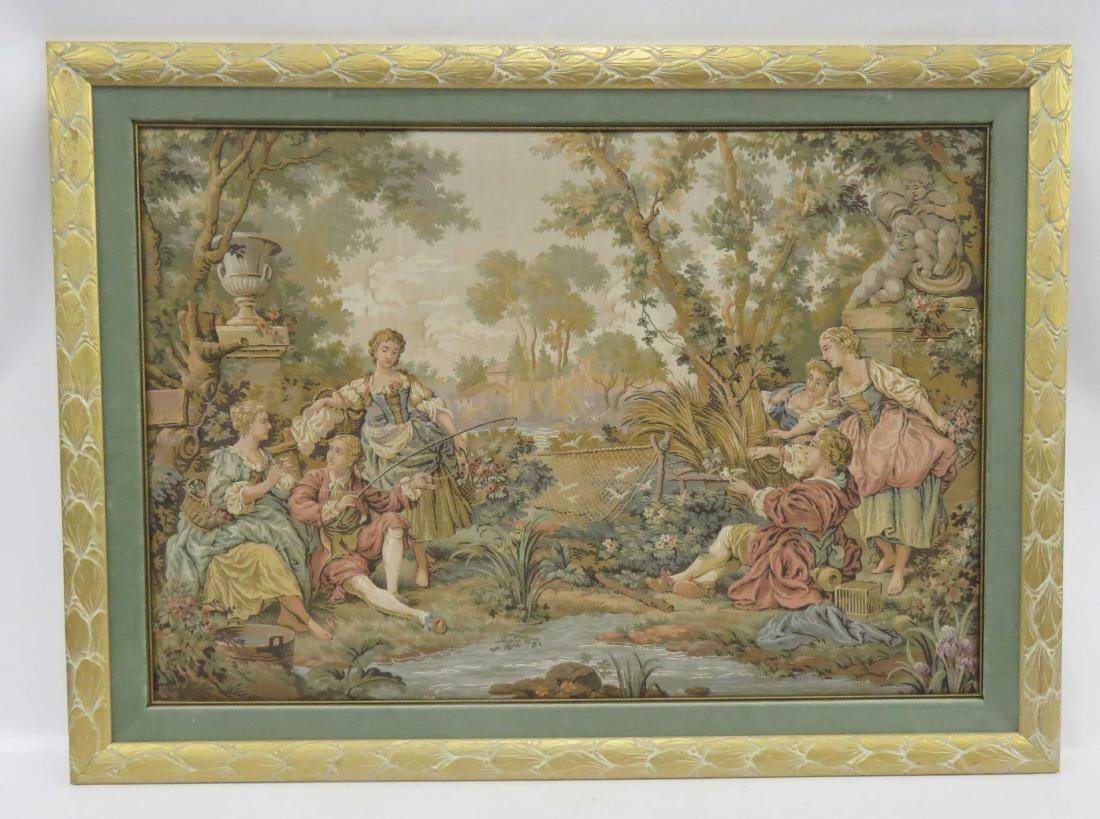 CONTINENTAL TAPESTRY PANEL, FIGURES IN A GARDEN. FRAMED