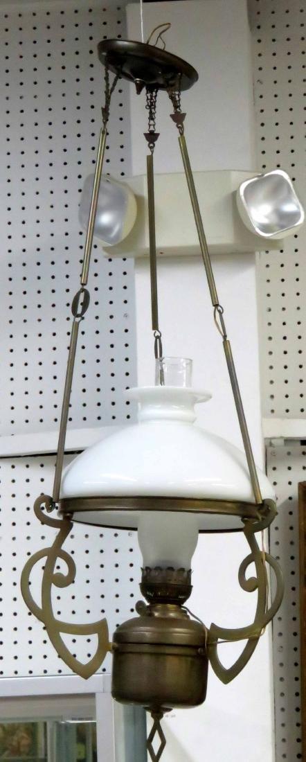 """ART NOUVEAU BRASS HANGING LAMP. HEIGHT 38"""""""