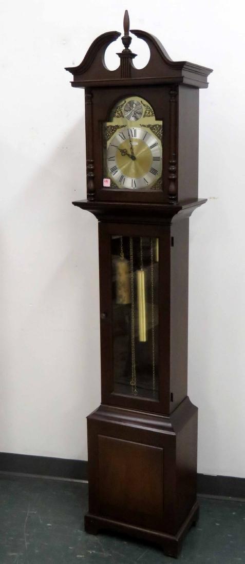 HOWARD MILLER/BARWICK CLOCK CO. WALNUT TALL CASE CLOCK.