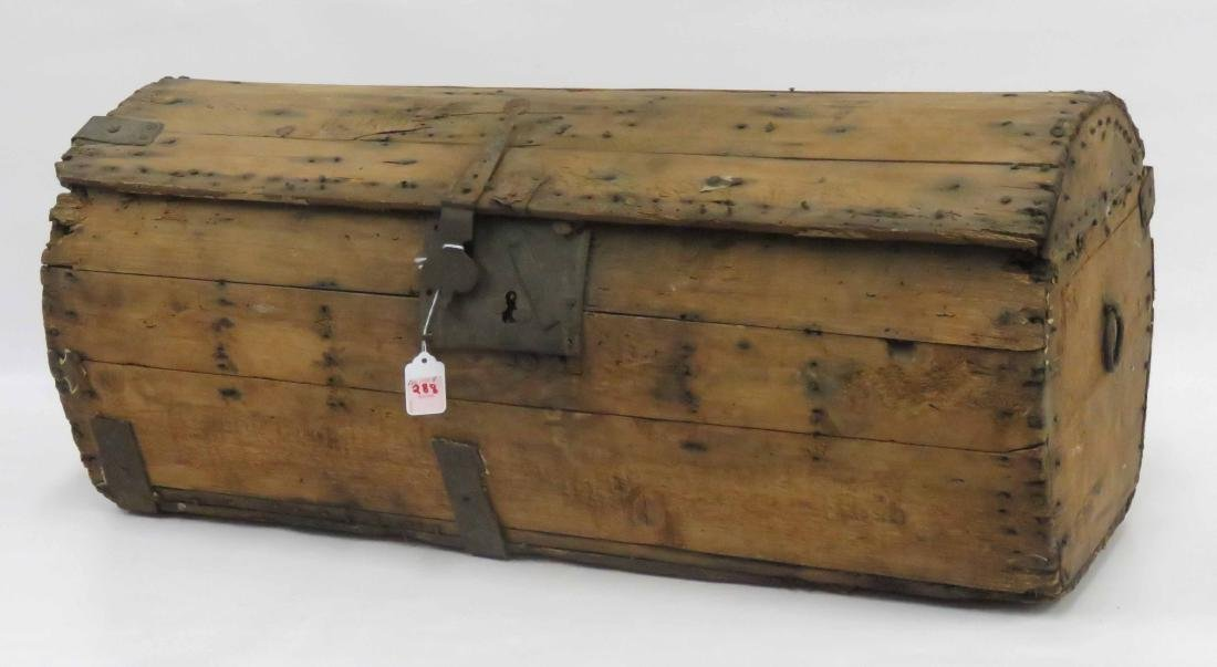 "18TH CENTURY BARREL-FORM STAGE COACH TRUNK. HEIGHT 13"";"
