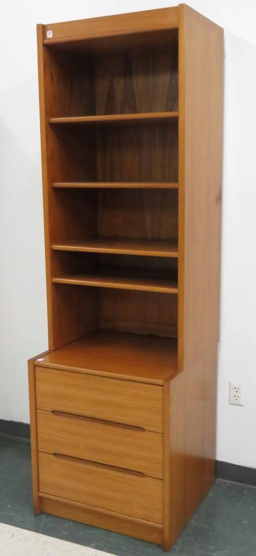 """DANISH DESIGN BOOKCASE WITH CABINET BASE. HEIGHT 79"""";"""