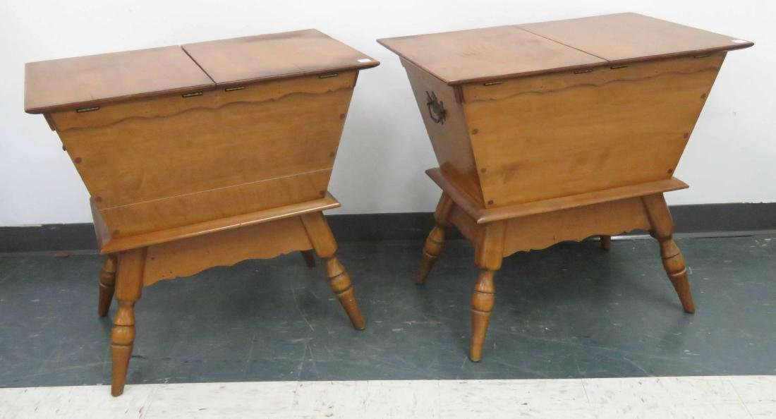 """PAIR MAPLE DOUGH BOX LAMP TABLES. HEIGHT 26"""""""