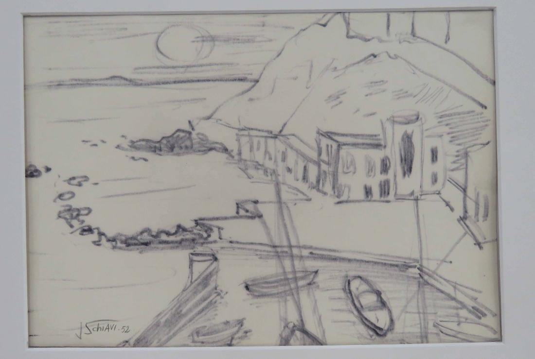 ITALIAN SCHOOL (20TH CENTURY), MARKER ON PAPER, HARBOR