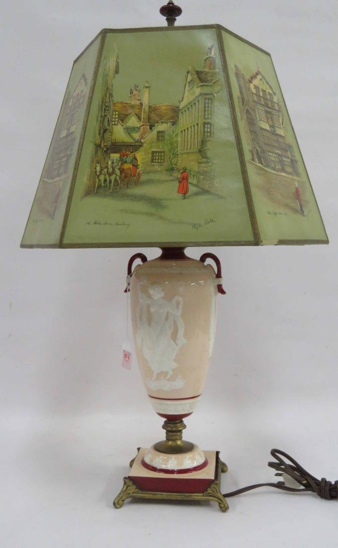CAMEO ART POTTERY TABLE LAMP. HEIGHT 25 1/2""