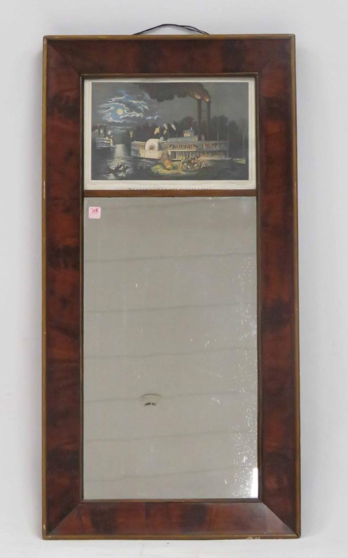 EMPIRE MAHOGANY FLAT OGEE FRAMED MIRROR, 19TH CENTURY.