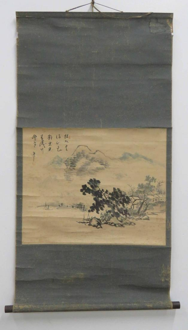 CHINESE WATERCOLOR SCROLL PAINTING ON PAPER, LANDSCAPE,