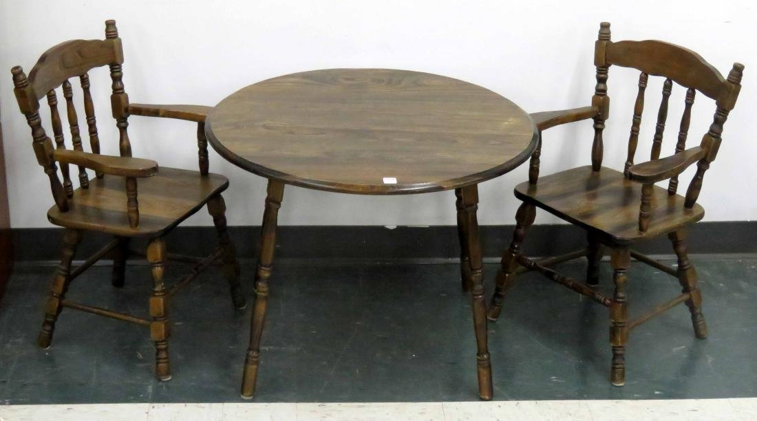 CHILD'S HARDWOOD TABLE AND (2) CHAIRS