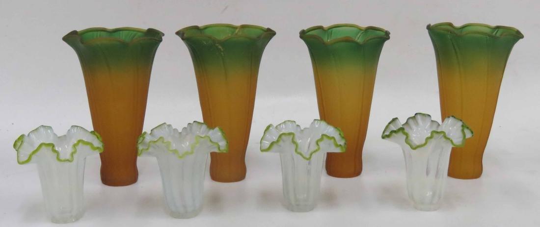"""LOT (8) ART GLASS SHADES. 4/HEIGHT 5""""; (4) 2 1/2"""""""