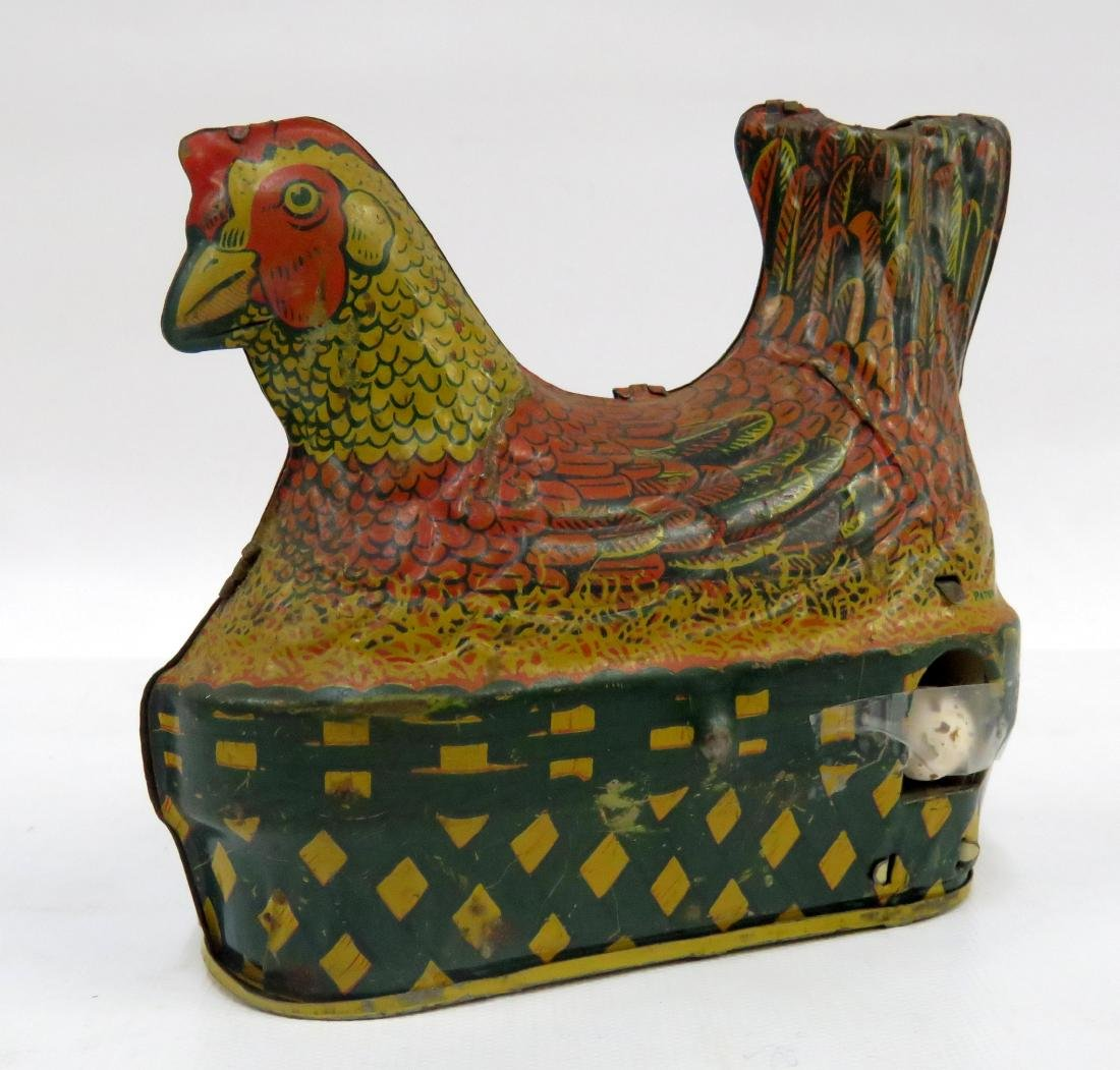 ANTIQUE TIN LITHO, HEN ON NEST MECHANICAL TOY, BARDWIN