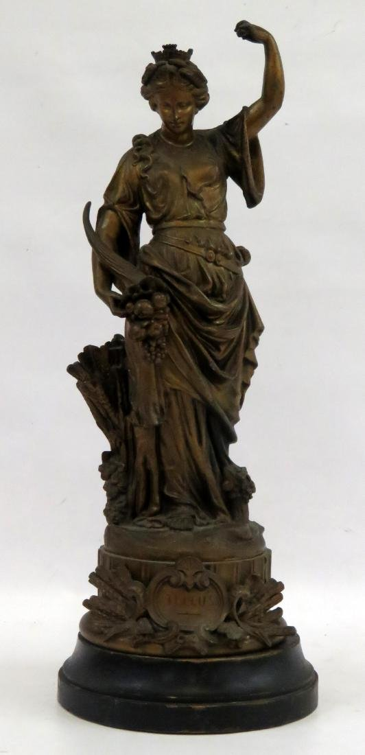 FRENCH STYLE SPELTER FIGURE OF FELLUS. HEIGHT 22""