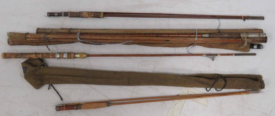 LOT ASSORTED BAMBOO FLY RODS WITH CLOTH COVERS