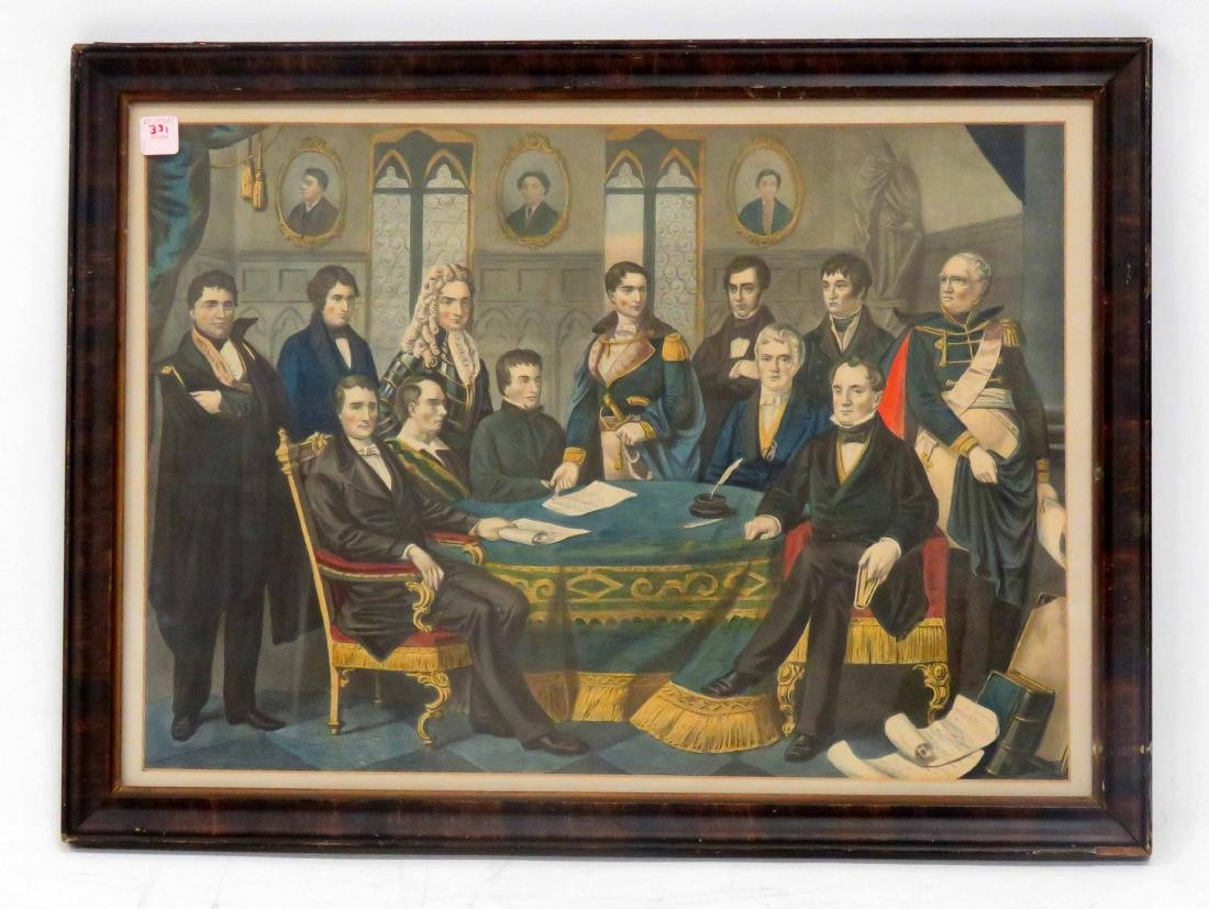 COLORED LITHOGRAPH, ILLUSTRIOUS SONS OF IRELAND, 19TH