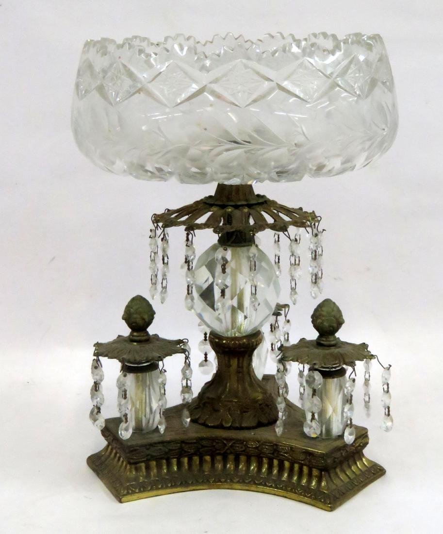 CONTINENTAL GILT METAL AND CUT CRYSTAL CENTERPIECE.