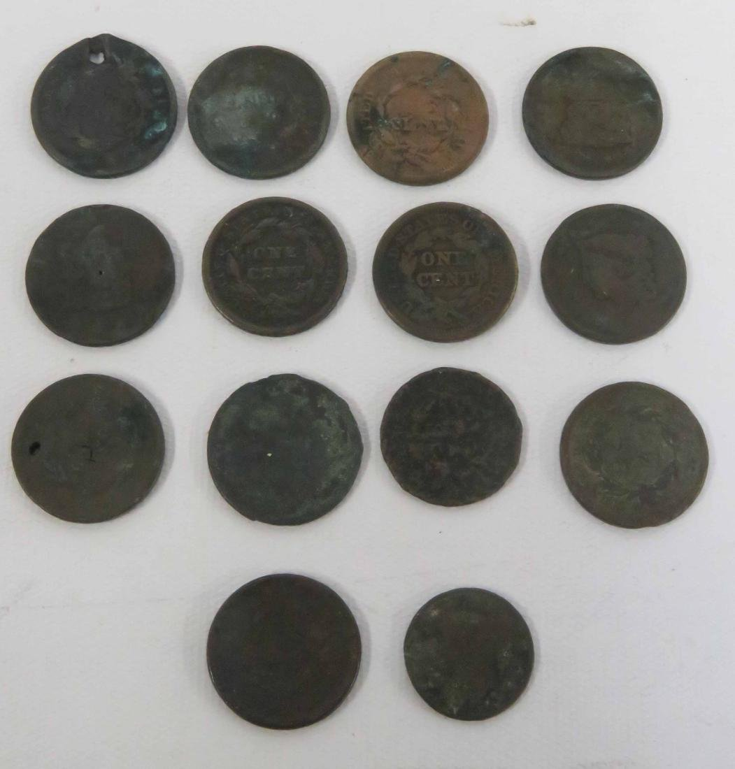 LOT (14) INCLUDING (13) US LARGE CENTS, (1) HALF CENT