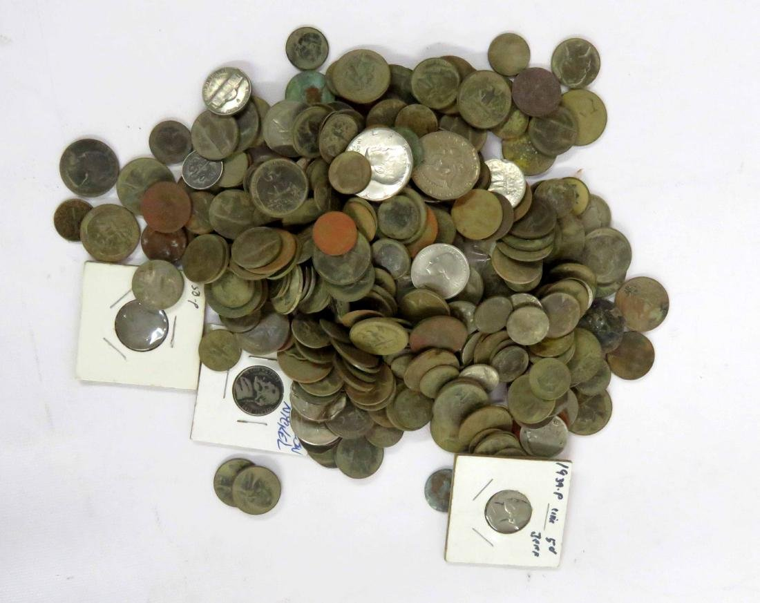 LOT ASSORTED EXCAVATED US COINS INCLUDING NICKELS,