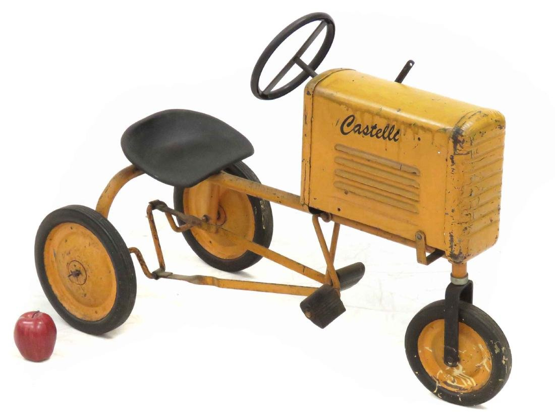 VINTAGE CASTELLI STEEL PEDAL TRACTOR. LENGTH 36""
