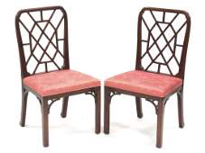 PAIR CHIPPENDALE STYLE CARVED MAHOGANY SIDE CHAIRS.