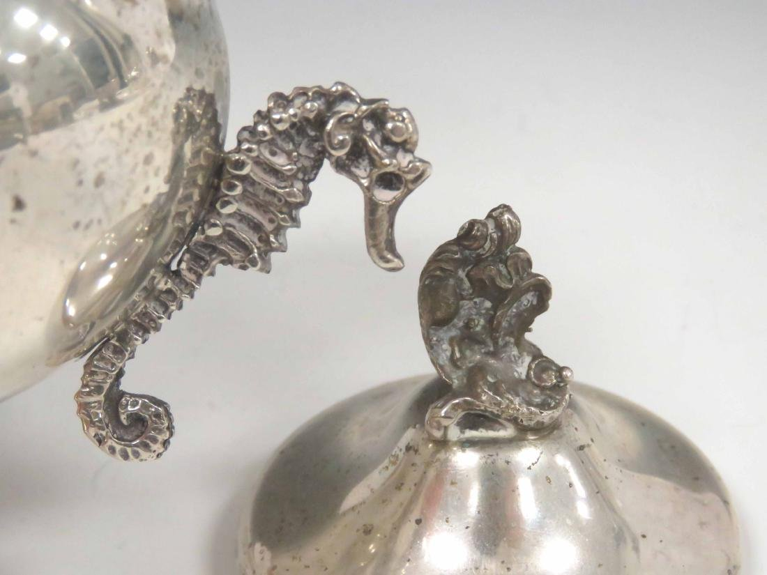 CONTINENTAL 800 SILVER COVERED SUGAR WITH SEA-HORSE - 2