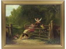 AMERICAN SCHOOL (19TH CENTURY), OIL ON CANVAS, CHILDREN