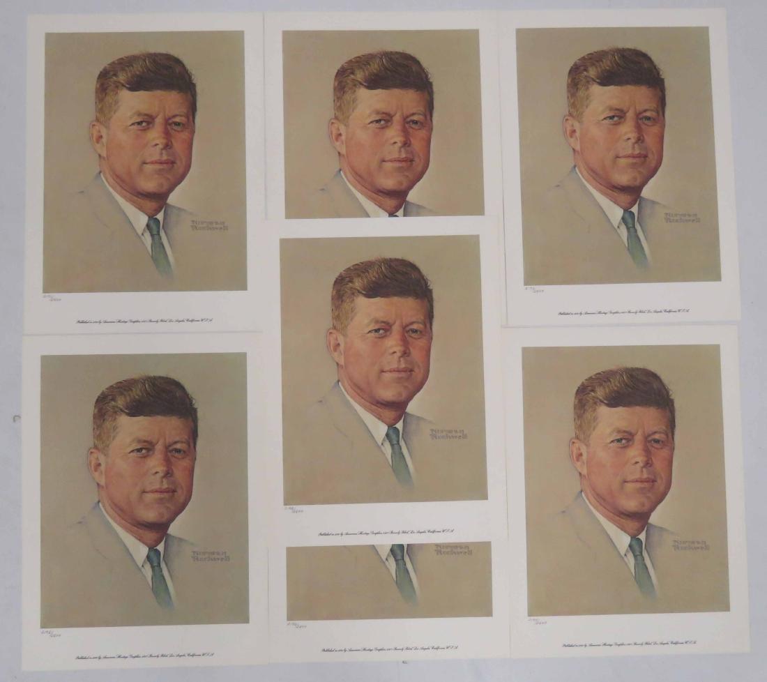 LOT (7) JOHN F. KENNEDY PRESIDENTIAL PORTRAIT PRINTS BY