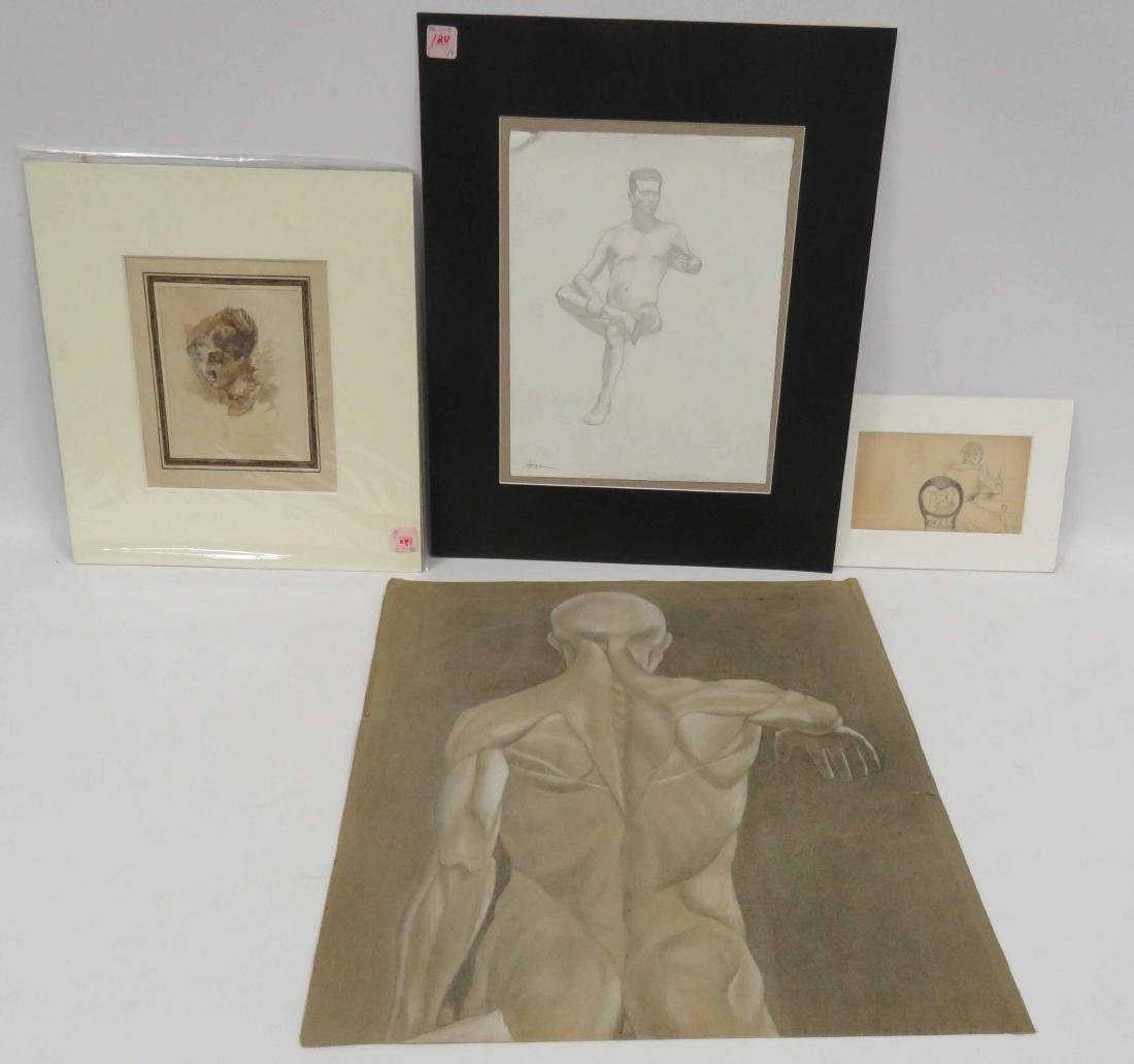 LOT (4) INCLUDING (3) ASSORTED ACADEMIC DRAWINGS