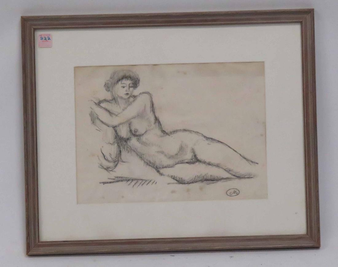 FRENCH SCHOOL (20TH CENTURY), CHARCOAL, STUDY RECLINING