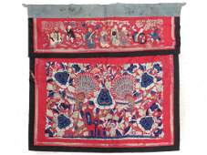 """VINTAGE CHINESE EMBROIDERED SILK PANEL. 36 X 36"""""""